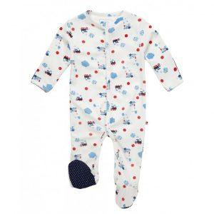 Økologisk pyjamas til baby med damptog
