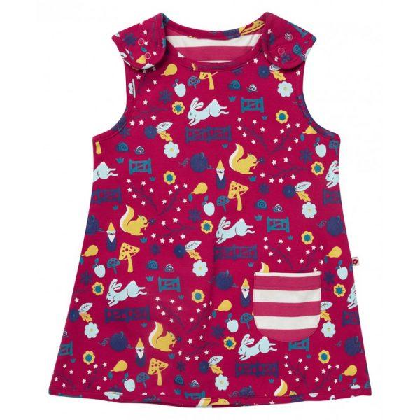 Økologisk kjole til baby - reversibel med striper/dyr og natur