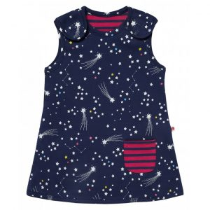 Reversibel økologisk kjole til baby - striper/stjerner og stjerneskudd